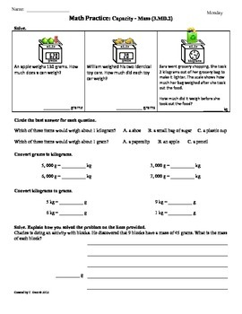 3 md 2 capacity mass 3rd grade common core math worksheets 4th 9 weeks. Black Bedroom Furniture Sets. Home Design Ideas