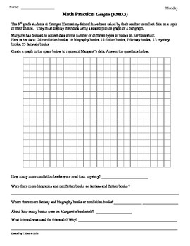 (3.MD.3) Graphing Part 1 -3rd Grade Common Core Math Worksheets - 2nd 9 Weeks