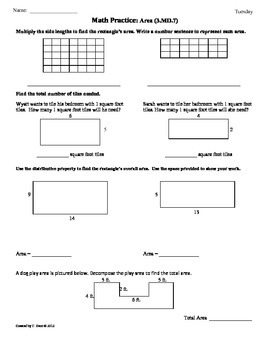 3.MD.7) Area [Part 3] 3rd Grade Common Core Math Worksheets - 4th ...