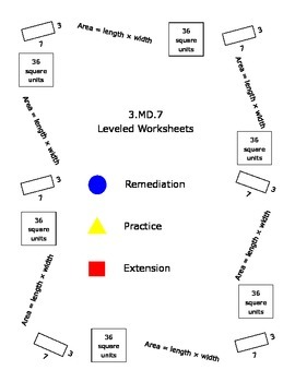 3.MD.7 Area Practice Leveled Worksheets