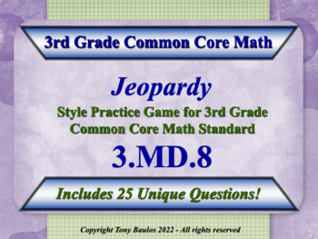 3.MD.8 3rd Grade Math Jeopardy Game - 3 MD.8 Geometric Mea
