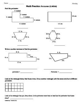 Worksheets 4th Grade Common Core Worksheets 3 md 8 perimeter 3rd grade common core math by tonya gent worksheets