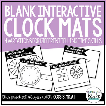 3.MD.A.1 - Blank Clock Mat Tool for Telling Time