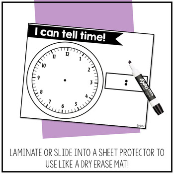 3.MD.A.1 - Blank, Interactive Clock Mat for Telling and Measuring Time