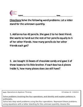 3.MD.A.1 Measurement and Data Word Problems First Grade Common Core Math Sheets
