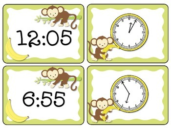 3.MD.A.1 - Monkey Minutes! Matching Game