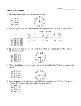 3.MD.A.1 Questions - 3rd Grade Telling Time