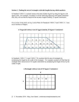 3.MD.C.7.A and 3.MD.C.7.B Finding the Area of Rectangles by Using Multiplication