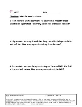 3.MD.C.7b Measurement And Data Word Problems Third Grade C