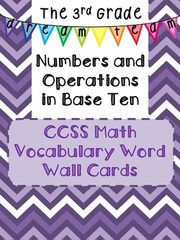 3.NBT CCSS Math Vocabulary-Word Wall