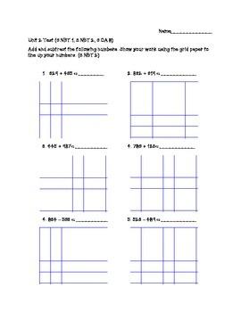 3.NBT.1, 3.NBT.2, 3.OA.8; Addition, Subtraction and Rounding Assessment