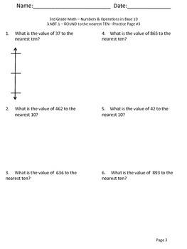 3.NBT.1 3.NBT.2 - Rounding, Addition & Subtraction Practice Sheets