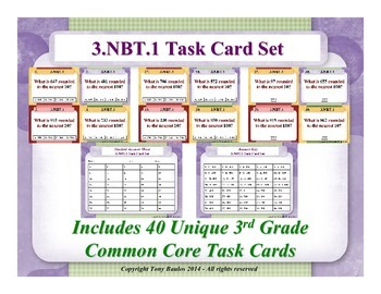 3.NBT.1 3rd Grade Common Core Math Task Cards - Round To Nearest 10 or 100