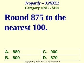3.NBT.1 Jeopardy Game 3rd Grade Math - Round To Nearest 10 or 100 3.NBT.1