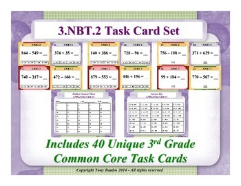 3.NBT.2 3rd Grade Common Core Math Task Cards - Add & Subtract Within 1,000