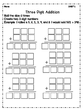 3.NBT.2 Addition Dice Activity- Differentiated