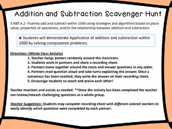 3.NBT.2 {Cooperative Learning} Add/Subtract Scavenger Hunt-Math Around the Room
