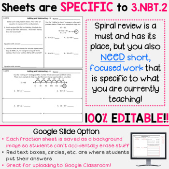 3.NBT.2 - Addition and Subtraction Strategies Homework or Math Centers