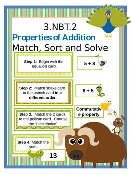 3.NBT.2: Properties of Addition  Match, Sort and Solve