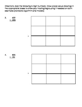3NBT.2 Regrouping with Addition Homework/Classwork-mid level