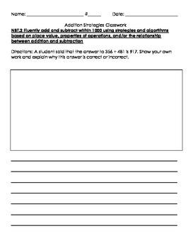 3NBT.2 Regrouping with Addition Homework/Classwork-high level