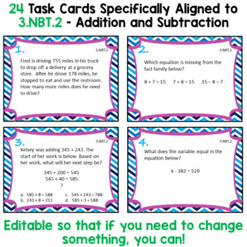 Addition and Subtraction Task Cards - 3.NBT.2