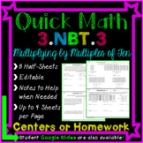 3.NBT.3 Homework or Math Centers: Multiplying by Multiples of Ten