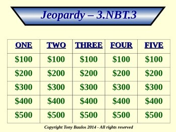 3.NBT.3 Jeopardy Game 3rd Grade Math 3 NBT.3 Multiply By Multiples Of 10