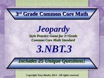 3.NBT.3 Jeopardy Game 3rd Grade Math 3 NBT.3 Multiply By M