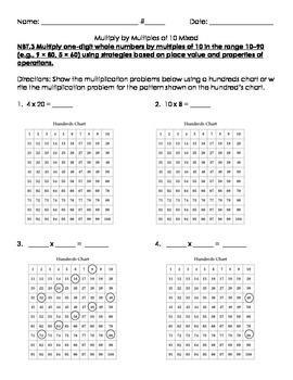 3NBT.3 Multiples of 10 on Hundreds Chart, Base Ten Blocks, Diagram