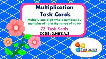 3.NBT.A.3 Multiplication Task Cards (Single Digit by Multiples of 10)
