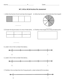 3NF.1, 3NF.2 Fractions Pre-Assessment