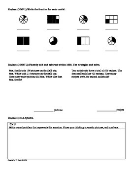 (3.NF.2) Understand Fractions-3rd Grade Common Core Math Worksheets- 3rd 9 Weeks