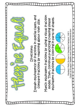 3.NF.3 Third Grade Common Core Worksheets, Activity, and Poster