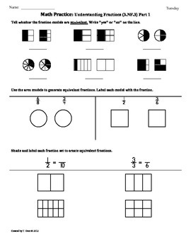 Common core math fractions grade 3 worksheets