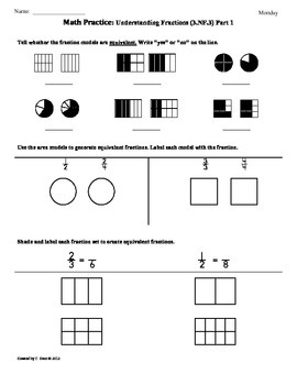 3.NF.3)Fractions Part 1 3rd Grade Common Core... by Tonya Gent ...