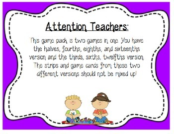 3.NF.A.1 Let's Make a Whole Fraction Strip Math Center Game ~ CCSS 2nd, 3rd, 4th