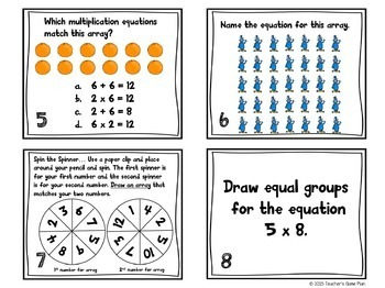 Multiplication Task Cards Arrays & Equal Groups