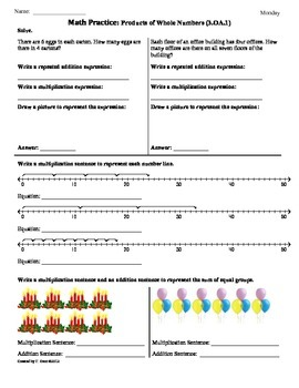 (3.OA.1) Products -3rd Grade Common Core Math Worksheets - 1st 9 Weeks