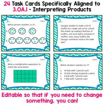 3.OA.1 Task Cards -Interpreting Products