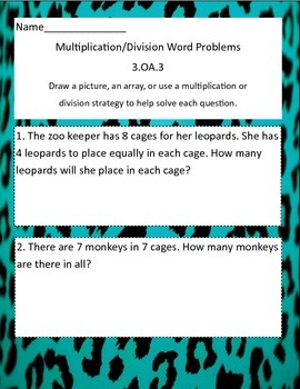 3.OA.3 Multiplication and Division Word Problems