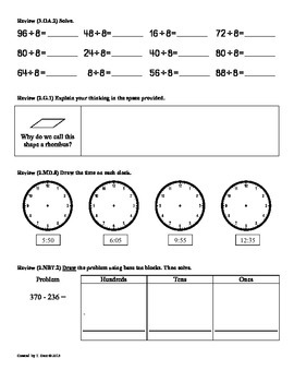 (3.OA.3) Multiply & Divide- 3rd Grade Common Core Math Worksheets -  1st 9 Weeks