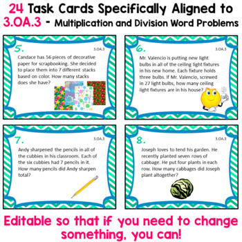 Multiplication and Division Task Cards - 3.OA.3