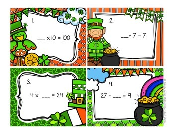 3.OA.4 St. Patricks Day Seat Scoot - Solving Multiplication & Division Unknowns