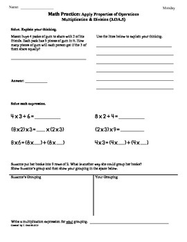 (3.OA.5) Apply Properties of Operations-3rd Grade Math Worksheet 1st 9 Weeks