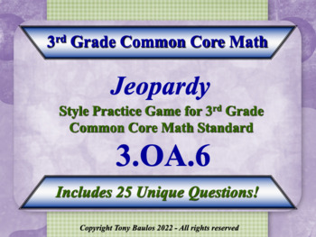 3.OA.6 Jeopardy Game 3rd Grade Math - Division As An Unkno