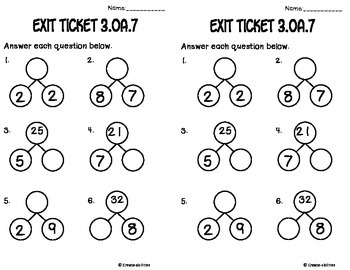 Math Facts Math Tasks and Exit Tickets