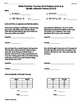 3.OA.8  3.OA.93rd Grade Common Core Math Worksheets  SAMPLE by Tonya Gent