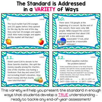 3.OA.8 Task Cards for Third Grade Math Common Core - Multiple Step Word Problems