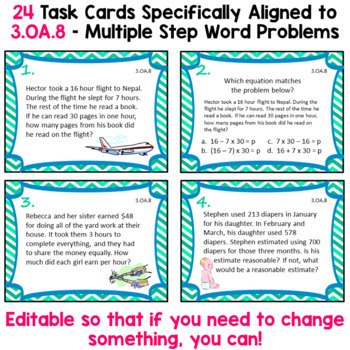 3 OA 8 Task Cards For Third Grade Math Common Core Multiple Step Word Problems